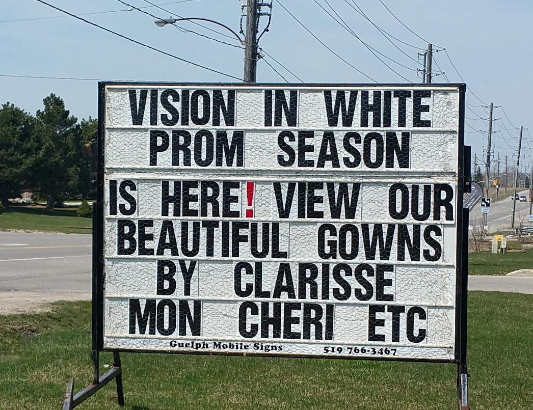 white billboard sign