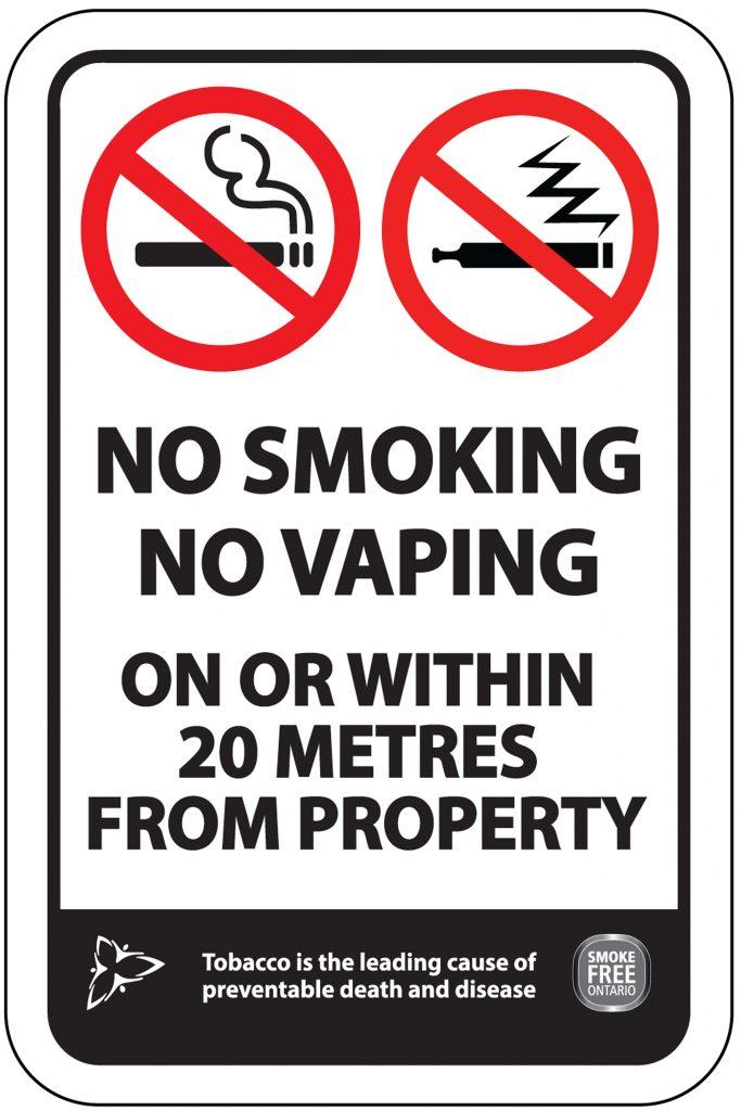 No Smoking / No Vaping Within 20 Metres – Smoke-Free Ontario